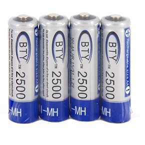 BTY AA 2500mAh 1.2V Rechargeable Battery (4pcs/set)