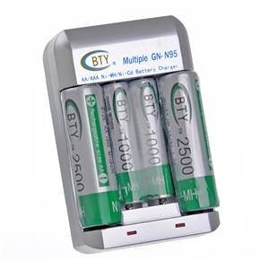 BTY GN-N95 AA AAA Ni-MH Ni-Cd Multiple Battery Charger with Green Rechargeable Battery