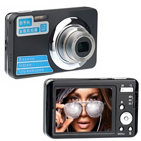 570 2.7-inch TFT-LCD 5X Optical Zoom 9.0MP CMOS Anti-shake HD 720P Digital Camera with TV-out /SD Card Slot (Black)