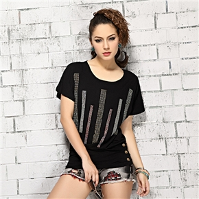 Fashion Women Summer Dazzle Rivet Style Round Neck Short Sleeve Soft Pure Cotton T-shirt - Size XL (Black)