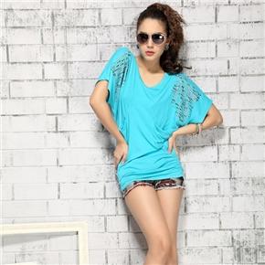 Fashion Women Summer Dazzling Pattern V-neck Short Sleeve Soft Cotton Loose T-shirt - Size XL (Blue)
