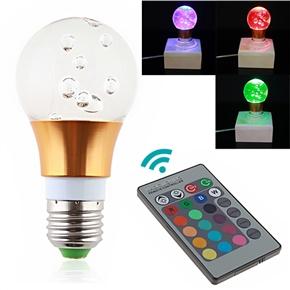3W E27 Remote Control Color-changing RGB LED Light Bulb