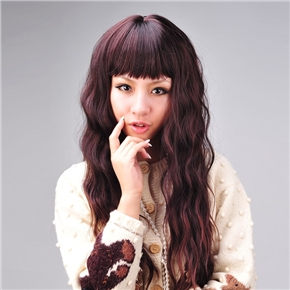 Adjustable Long Curly Wig Hair Curl with Front Straight Bang (Dark Maroon)