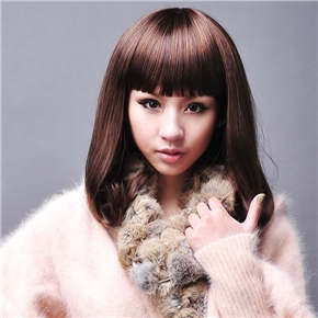Attractive Long Straight Wig Hair with Cool Neat Eyebrow Bang (Brown)