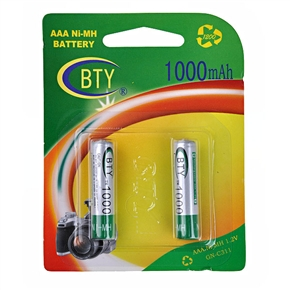 BTY 1000mAh 1.2V AAA Rechargeable Ni-MH Battery (2 pcs/set)