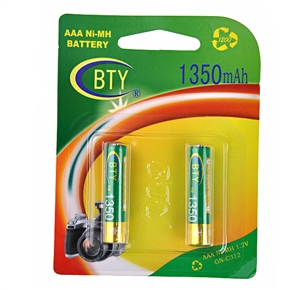 BTY 1350mAh 1.2V AAA Rechargeable Ni-MH Battery (2 pcs/set)
