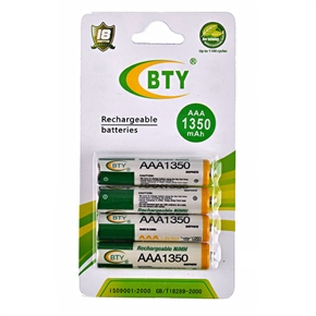 BTY 1350mAh 1.2V AAA Rechargeable NiMH Battery (4 pcs/set)