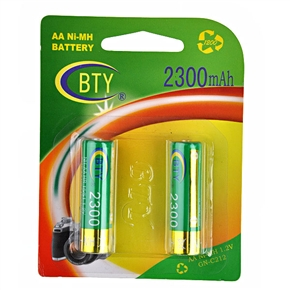 BTY 2300mAh 1.2V AA Rechargeable Ni-MH Battery (2 pcs/set)