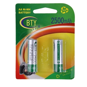 BTY 2500mAh 1.2V AA Rechargeable Ni-MH Battery (2 pcs/set)