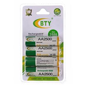 BTY 2500mAh 1.2V AA Rechargeable NiMH Battery (4 pcs/set)