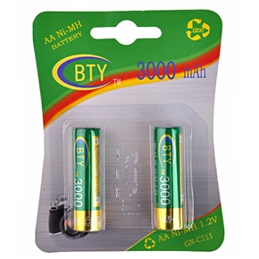 BTY 3000mAh 1.2V AA Rechargeable Ni-MH Battery (2 pcs/set)