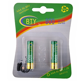 BTY 800mAh 1.2V AAA Rechargeable Ni-MH Battery (2 pcs/set)