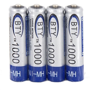 BTY AAA 1000mAh 1.2V Rechargeable Battery (4pcs/set)