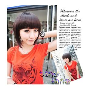 Beautiful Lady Short Wig Hairstyle with Straight Bang (Deep Maroon)