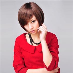 Bob Style Short Wig Hair with Front Bang (Light Brown)