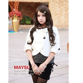 Bohemian Style Lady Long Curly Wig Hair with Inclined Bang (Deep Brown)
