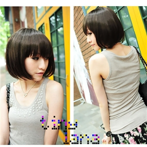 Brand New Lady Short BoBo Wig Hairstyle with Straight Bang (Deep Brown)