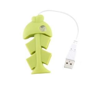 Cute Fishbone 4 Port High Speed USB 2.0 Hub (Green)