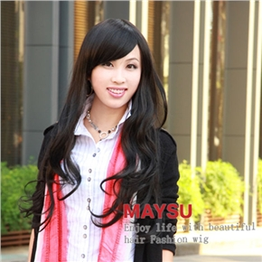 Fashionable Lady Long Curly Wig Hair with Inclined Bang (Natural Black)