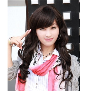 Flexible Long Curly Wig Curly Hairstyle with Front Bang (Black)