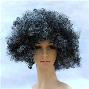 Fluffy Hair Cosplay Wig Hairpiece - Explosion Head (Black & White)