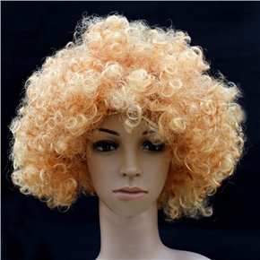 Fluffy Hair Cosplay Wig Hairpiece - Explosion Head (Golden Yellow)