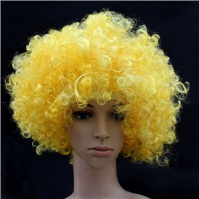 Fluffy Hair Cosplay Wig Hairpiece - Explosion Head (Yellow)