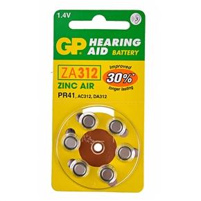 GP ZA312 1.4V Hearing Aid Battery Zinc Air Battery (6 pcs/set)