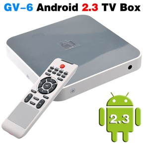GV-6 Android 2.3 512M/4G High Definition TV Box with WiFi Ethernet & Remote Control