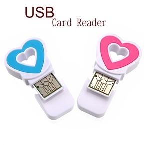 Heart Shaped Mini High Speed USB 480MBps Micro SD /TF  Card Reader (Random Color)