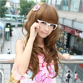 Japanese Style Lady Long Curly Wig Hair with Bang (Flax Yellow)