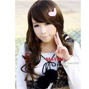 Japanese Style Lady Long Curly Wig Hair with Inclined Bang (Flax)