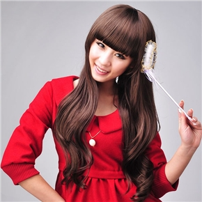 Japanese Style Lady Long Curly Wig Hair with Straight Bang (Light Brown)