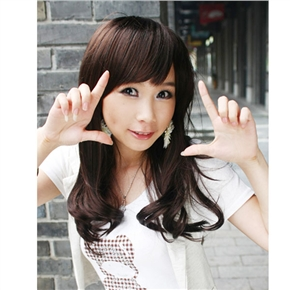 Japanese Style Lady Middle Long Curly Wig Hair with Bang (Chestnut)