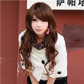 Japanese Style Long Curly Wig Hair Curl with Front Bang (Light Brown)
