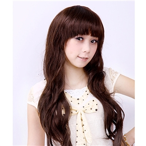 Japanese Style Wig Long Curly Hair with Front Bang (Light Brown)
