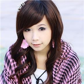 Korean Long Wig with Bang Popular Small Curl (Brown)