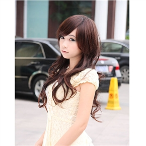 Lady Long Curly Wig Japanese Style Hair with Bang (Brown)