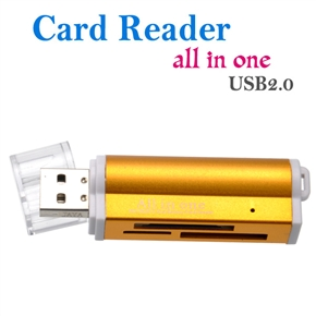 Lighter Shaped High Speed USB 2.0 /1.1 480Mbps All in One Universal Card Reader with LED Indicator (Gold)
