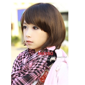 Lovely Short Straight Wig Bob Hairstyle with Front Bang (Dark Brown)