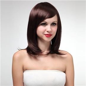 MYSU55 Vogue Short Straight Style Synthetic Fiber Women's Wig with Side Bangs (Wine Red)