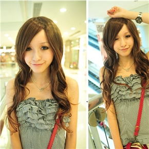 Milan Fashion Style Lady Long Curly Wig Hair with Inclined Bang (Shallow Brown)