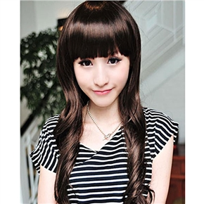 Natural Long Curly Wig with Straight Bang Free Size Wig (Light Brown)