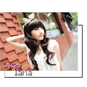 Popular Long Curly Wig Curl Sweet Hairstyle with Straight Bang (Chestnut)