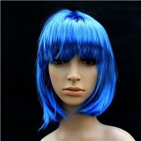 Pretty Straight Bang Cosplay Wig Hairpiece - BOBO Head (Blue)