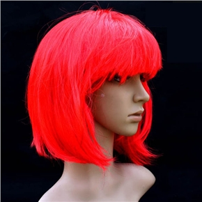 Pretty Straight Bang Cosplay Wig Hairpiece - BOBO Head (Bright Red)