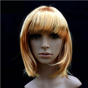 Pretty Straight Bang Cosplay Wig Hairpiece - BOBO Head (Golden Yellow)