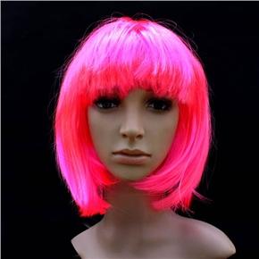 Pretty Straight Bang Cosplay Wig Hairpiece - BOBO Head (Pink)