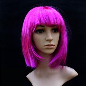 Pretty Straight Bang Cosplay Wig Hairpiece - BOBO Head (Purple)