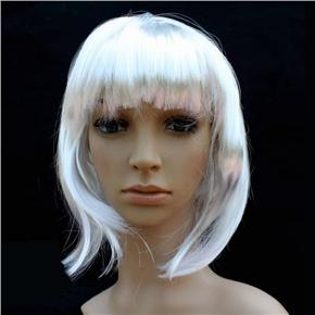 Pretty Straight Bang Cosplay Wig Hairpiece - BOBO Head (White)
